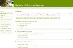 Registry of outcome measures